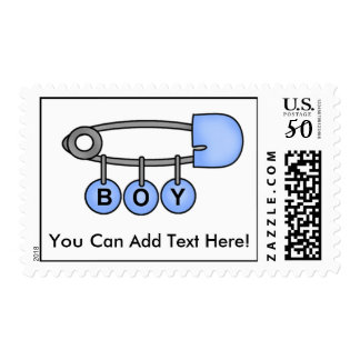 Personalized Blue Diaper Pin Baby Postage