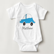 Personalized blue doodle car baby bodysuit