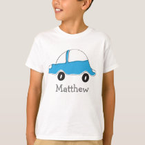 Personalized blue doodle car kids t shirt