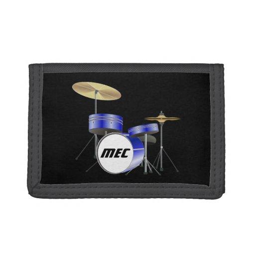 Personalized Blue Drum Set Wallets