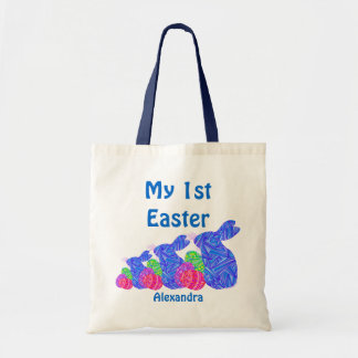 Personalized Blue Easter Bunny My First Easter Bag