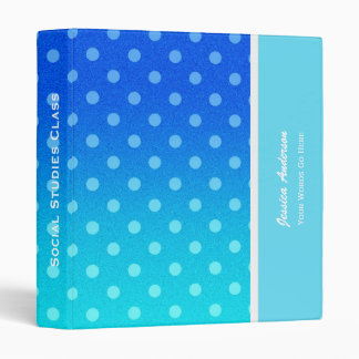 Personalized: Blue Fade Polka-dot Binder
