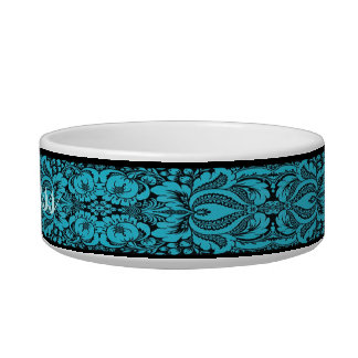 Personalized Blue Fantasy Floral Pet Bowl