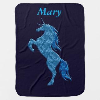 Personalized Blue Fire Unicorn Baby Blanket