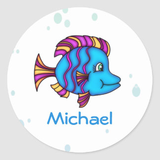 Personalized Blue Fish  Stickers