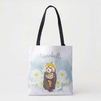 Personalized Blue Floral Red Panda Mom Baby Tote