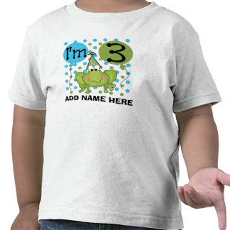 Personalized Blue Frog 3rd Birthday Tshirt