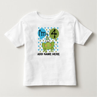 Personalized Blue Frog 4th Birthday Tshirt