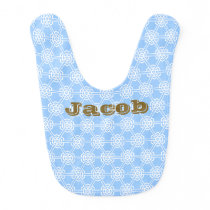 Personalized Blue Geometric Pattern Boys Bib