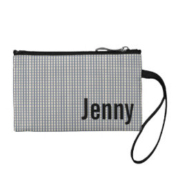 Personalized Blue Gingham Checked Coin Wallet