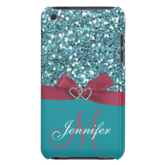 Personalized Blue Glitter, Pink Printed Bow Barely There iPod Cover