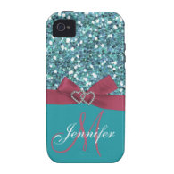 Personalized Blue Glitter, Pink Printed Bow iPhone 4/4S Cases