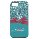 Personalized Blue Glitter, Pink Printed Bow iPhone 5 Cases