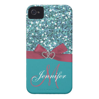 Personalized Blue Glitter, Pink Printed Bow iPhone 4 Case-Mate Cases