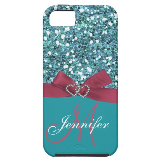 Personalized Blue Glitter, Pink Printed Bow iPhone SE/5/5s Case
