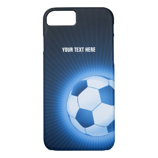Personalized Blue Glowing Soccer | Football iPhone 7 Case