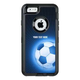 Personalized Blue Glowing Soccer | Football Sport OtterBox Defender iPhone Case