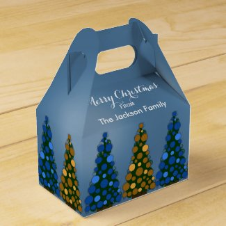 Personalized Blue & Gold Christmas Tree Favor Box