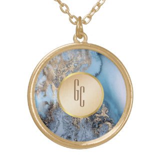personalized blue gold marble necklace