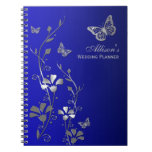 Personalized Blue, Gray Butterfly Floral Notebook