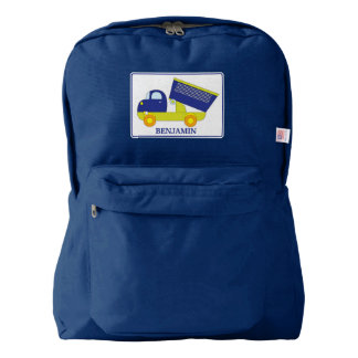 Personalized Blue & Green Construction Dump Truck American Apparel™ Backpack
