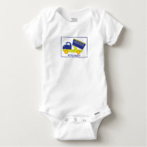 Personalized Blue & Green Construction Dump Truck Baby Onesie