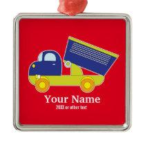 Personalized Blue & Green Construction Dump Truck Metal Ornament