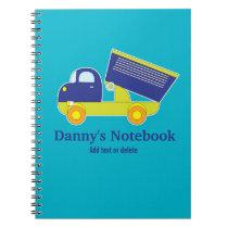 Personalized Blue & Green Construction Dump Truck Notebook
