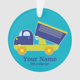 Personalized Blue & Green Construction Dump Truck Ornament