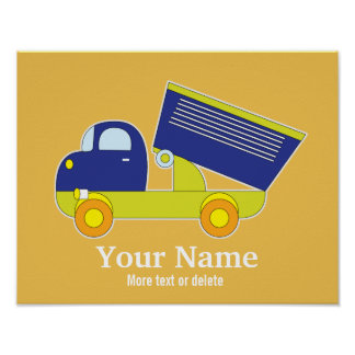 Personalized Blue & Green Construction Dump Truck Poster
