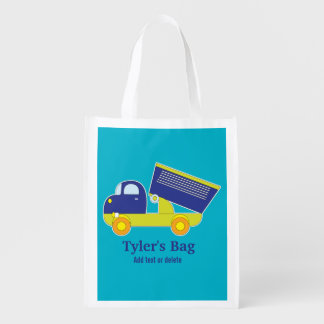 Personalized Blue & Green Construction Dump Truck Reusable Grocery Bag