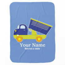 Personalized Blue & Green Construction Dump Truck Swaddle Blanket