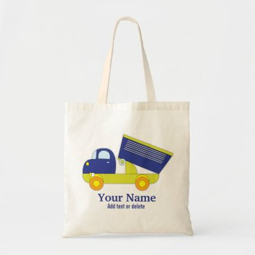 Toddler & Baby themed Personalized Blue & Green Construction Dump Truck Tote Bag