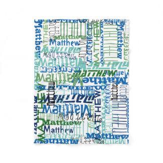 Personalized Blue/Green Custom Name Collage Boy's Fleece Blanket