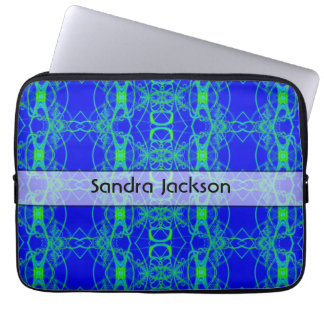 Personalized Blue green lace like abstract pattern Laptop Computer Sleeves