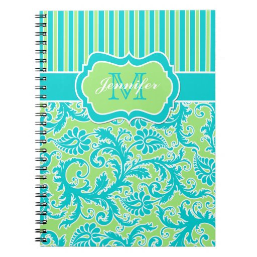 Personalized Blue Green White Striped Notebook