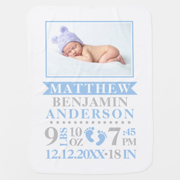 Personalised Elephant Comfort Blanket New Baby Girl Boy Nursery Pink Blue Grey