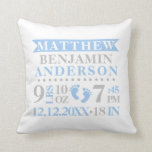 """Personalized Blue Grey Birth Stat BABY Boy Nursery Throw Pillow<br><div class=""""desc"""">What a great keepsake for the baby boy. Modern and colorful baby nursery throw pillow with birth information: first, middle and last name, weight, time, date, and length. Lovely design with polka dots, banner and baby feet. Colors are blue, grey and white background. Easy to edit and add your test....</div>"""