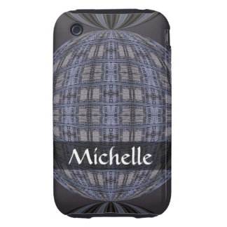 Personalized blue grey global abstract tough iPhone 3 covers