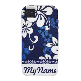 Personalized Blue Hawaii Flowers Case For The iPhone 4