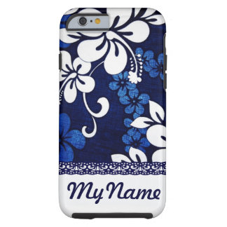 Personalized Blue Hawaii Flowers Tough iPhone 6 Case