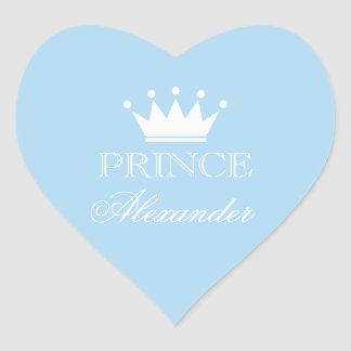 Personalized blue heart baby shower stickers