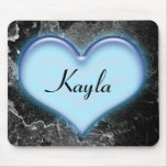 Personalized Blue Heart Mousepad