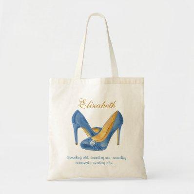 Personalized Blue Heels Bridesmaid Tote Canvas Bag