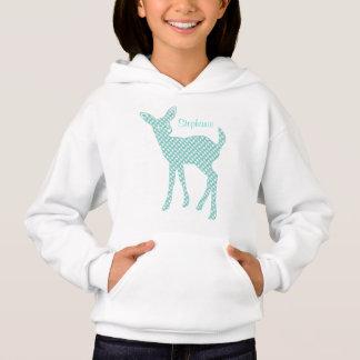 Personalized Blue Houndstooth Deer Hoodie