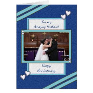 Personalized blue Husband Anniversary photo Card
