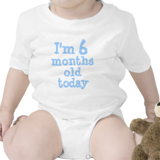 Personalized Blue I'm 6 months old today Bodysuit