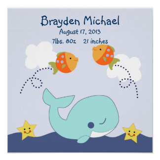 Personalized Blue Lagoon/Whale Poster Wall Art