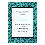 Personalized Blue Leopard 21st Birthday Invitation