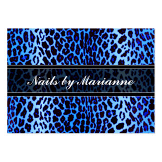 Personalized Blue Leopard Animal Print Large Business Card